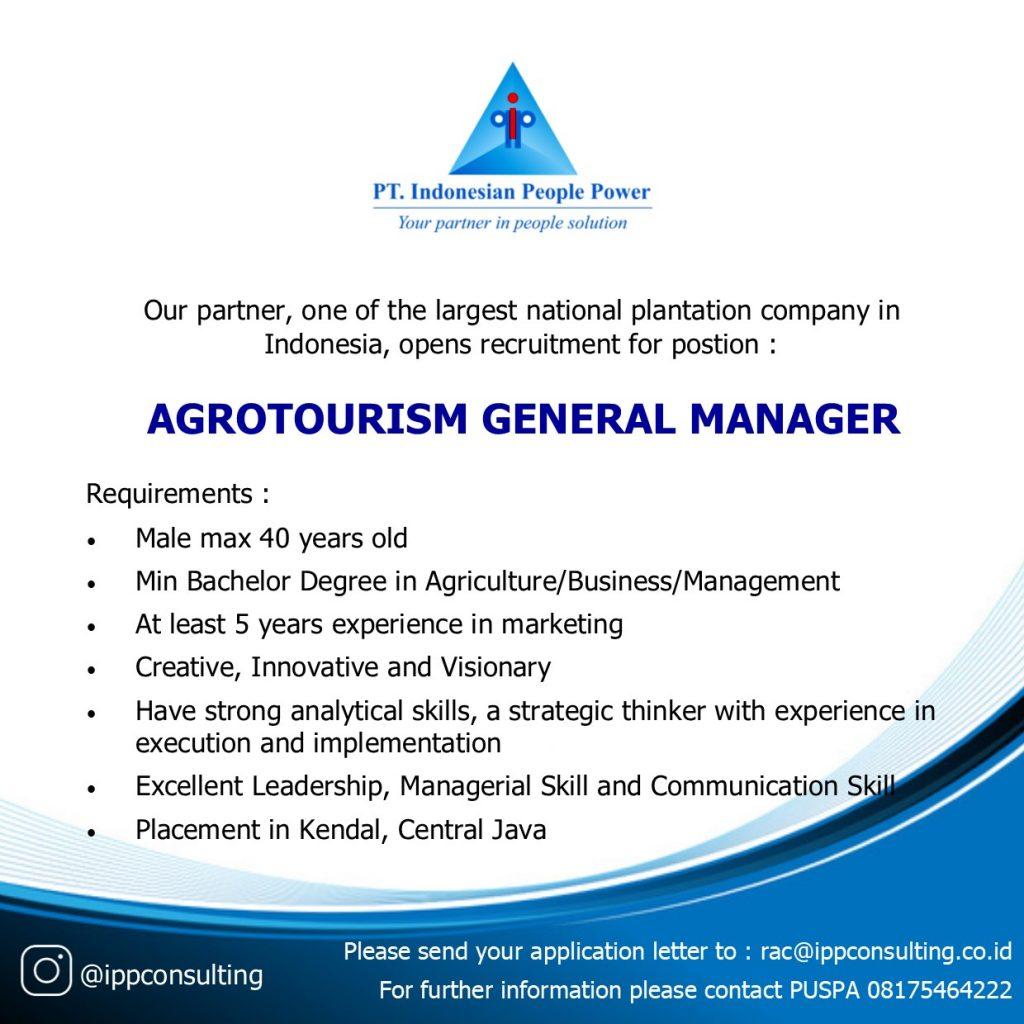 IPP Lowongan Agrotourism General Manager