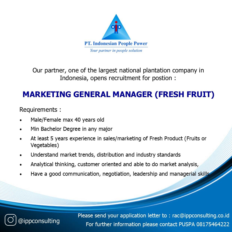 Lowongan Kerja Marketing General Manager Fresh Fruit