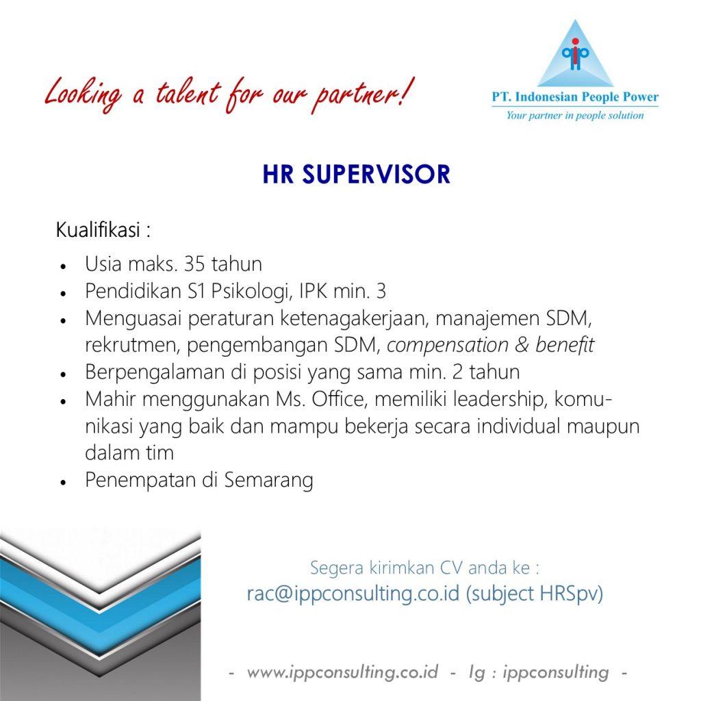 Lowongan Kerja HR Supervisor
